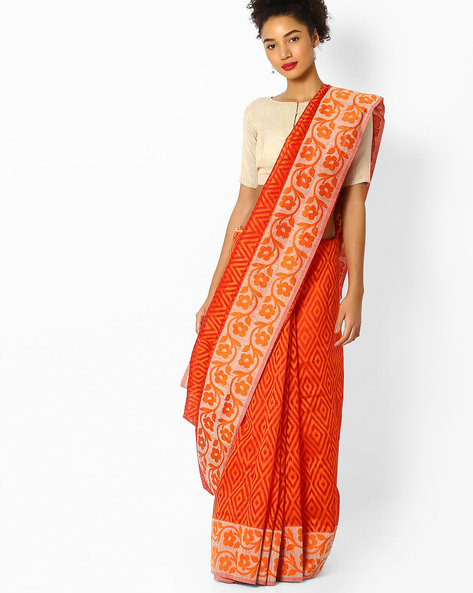 Banarasi Woven Saree With Contrast Border By Parmita ( Orange )