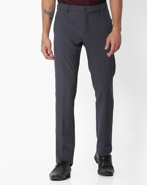 Flat-Front Slim Fit Stretch Trousers By NETWORK ( Medgrey )