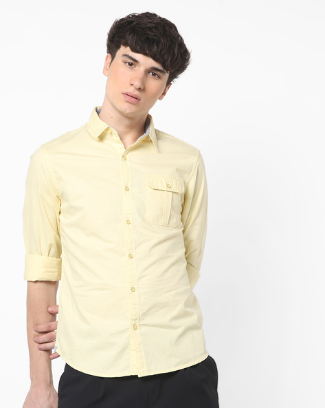 Slim Fit Shirt With Flap Pocket By AJIO ( Blue )