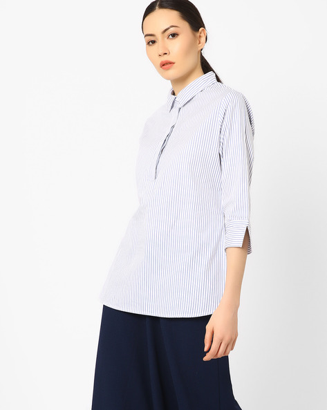 Striped High-Low Top By AJIO ( White )