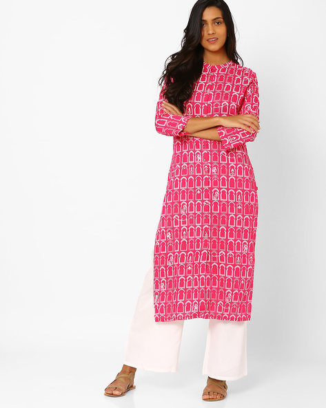 Printed Kurta With Front Button Placket By W ( Beige )