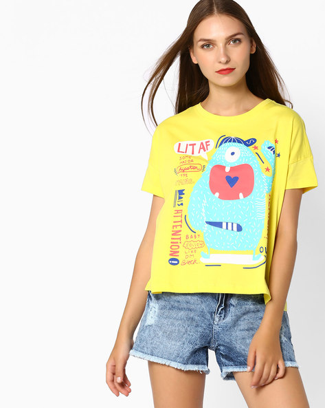 Graphic Print T-shirt With Drop Shoulders By AJIO ( Yellow )
