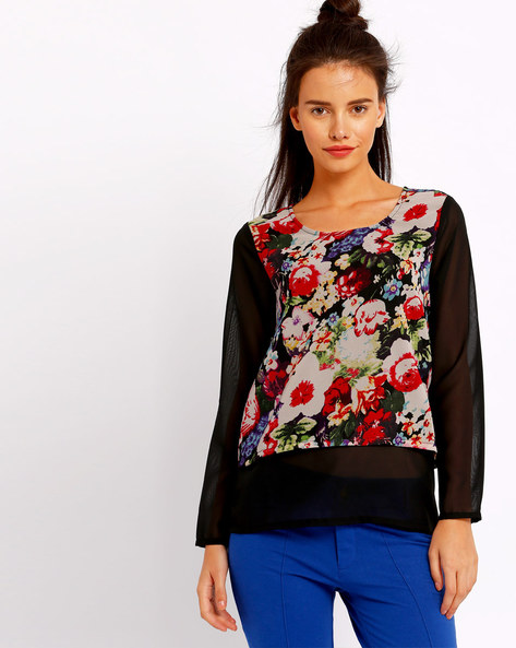 Floral Print Twofer Top By RIO ( Black )