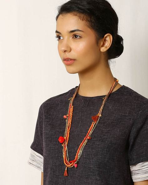 Beaded Metal Multistrand Necklace By Indie Picks ( Orange )