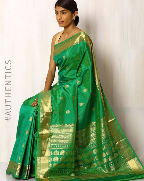 Handwoven Pure Silk Saree By Rudrakaashe-MSU ( Lightgreen )