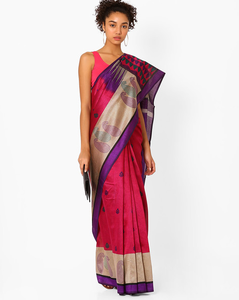 Printed Saree With Contrast Border By Florence ( Pink )