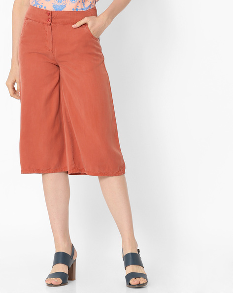 Mid-Rise Cotton Culottes By Alibi ( Brown )