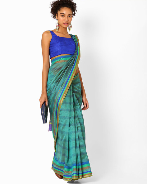 Striped Mysore Silk Saree By Florence ( Green )