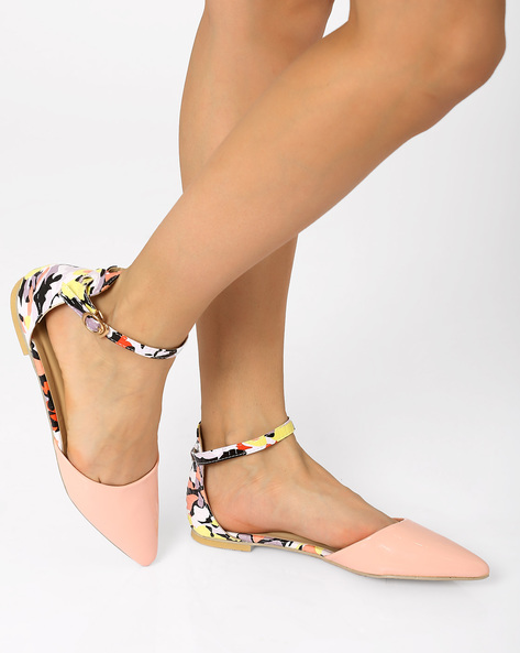 Pointy-Toe Flats With Ankle Strap By AJIO ( Coral )