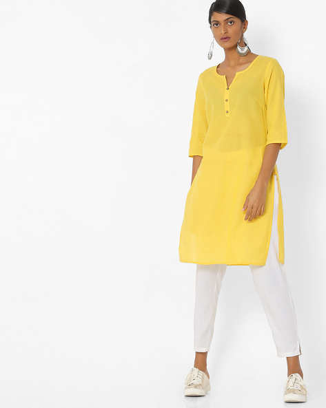 Cotton Straight Kurta By AURELIA ( Yellow )