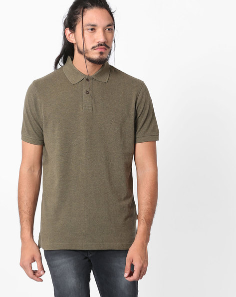Regular Fit Polo T-shirt By INDIAN TERRAIN ( Olive )