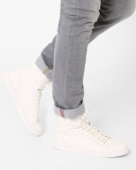 Faux-Leather High-Top Sneakers By AJIO ( White )
