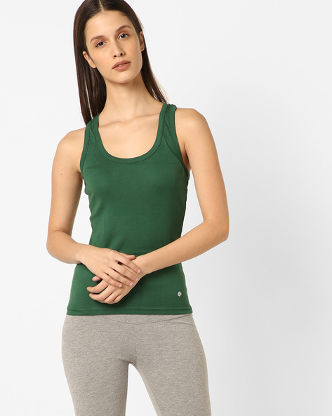 Cotton Racerback Tank Top By Floret ( Green )