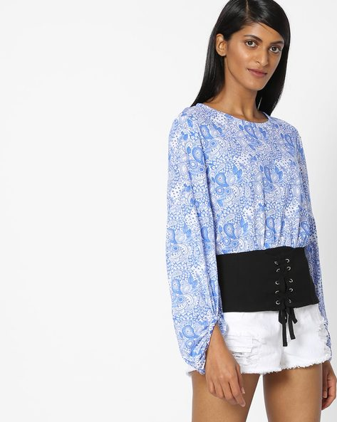 Printed Top With Lace-Ups By AJIO ( Navyblue )