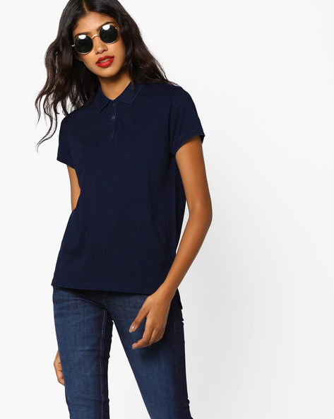 Polo T-shirt With Ribbed Hems By LEVIS ( Blue )