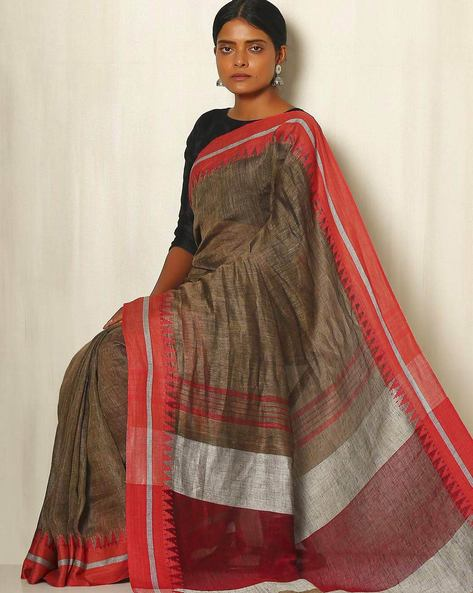 Handwoven Linen Saree With Cotton Contrast Border By Indie Picks ( Brown )