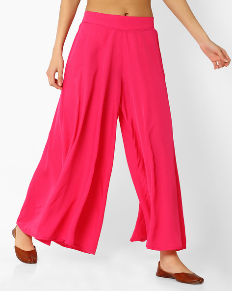 Palazzo Pants With Elasticated Waistband By AURELIA ( Pink )
