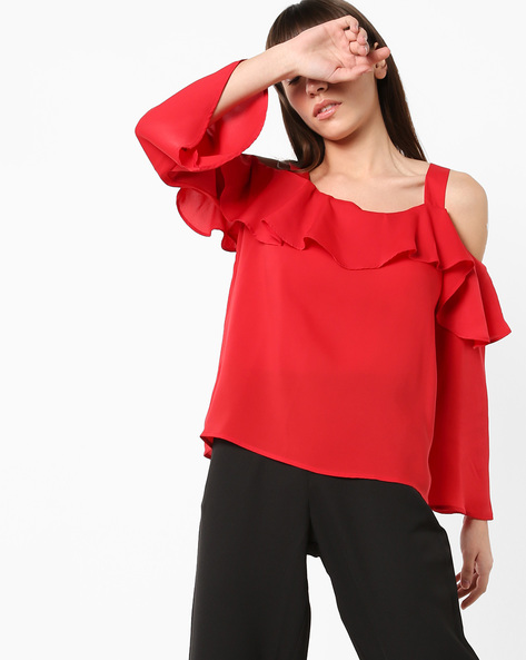Cold-Shoulder Top With Ruffled Overlay By AJIO ( Red )