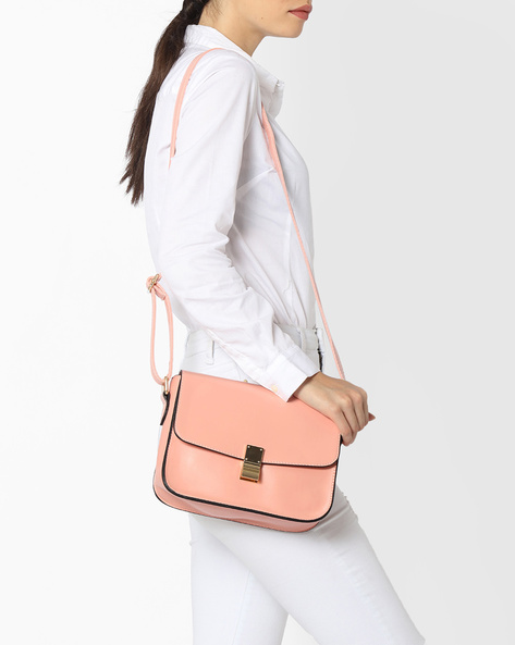 Sling Bag With Detachable Shoulder Strap By Lino Perros ( Pink )