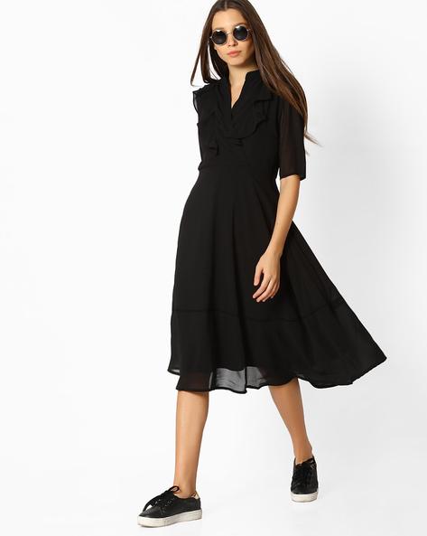 A-Line Ruffle Dress By Femella ( Black )