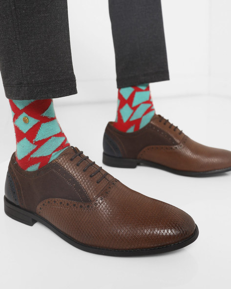 N9-Treated Textured Panelled Oxford Shoes By AJIO ( Brown )