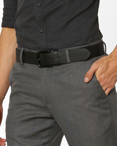 Perforated Genuine Leather Belt By WRANGLER ( Black )