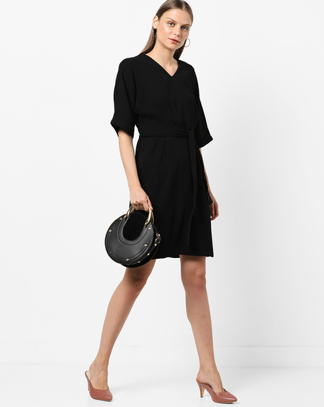 V-neck Sheath Dress With Back Cutout By AJIO ( Black )