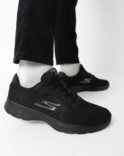 Go Walk Lace-Up Sports Shoes By Skechers ( Black )