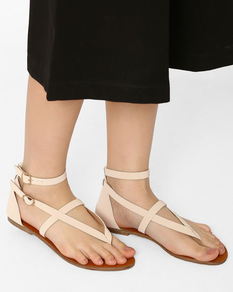 Ankle-Strap Flats With Buckle Closures By Curiozz ( Cream )