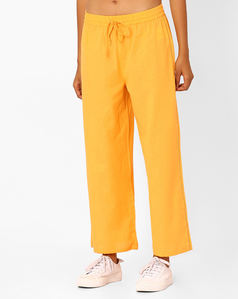 Mid-Rise Palazzos With Elasticated Waist By AJIO ( Mustard )
