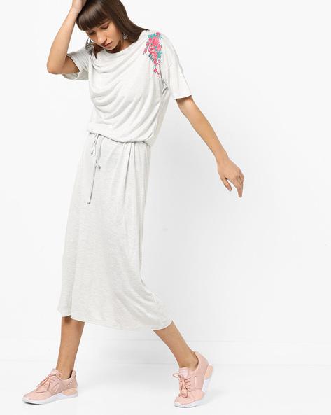 Floral Print Dress With Waist Tie-Up By AJIO ( Ecru )