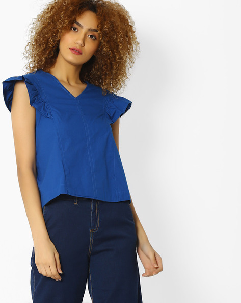 V-neck Top With Ruffled Cap Sleeves By Blue Saint ( Blue )