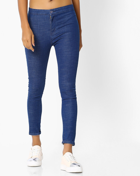 Slim Fit Jeans With Patch Pockets By Blue Saint ( Blue )
