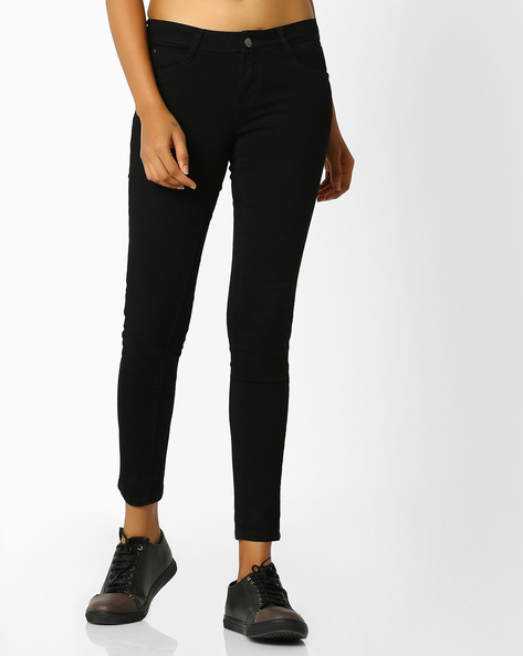 Skinny Fit Ankle-Length Jeans By KRAUS ( Black )