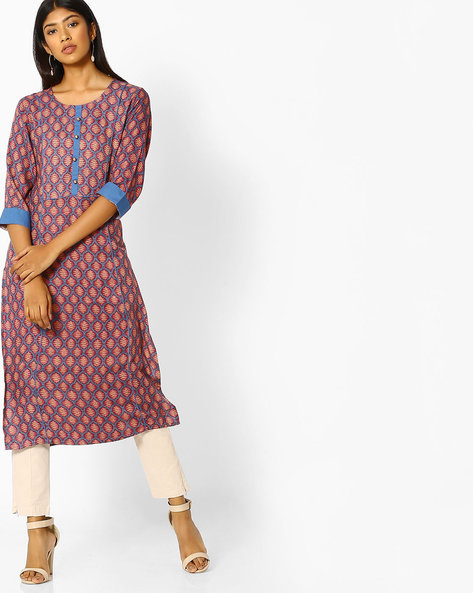 Printed Straight Kurta With Contrast Trims By Shree ( Blue )