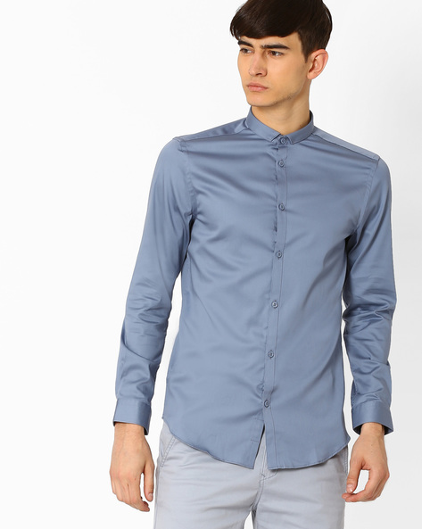 Slim Fit Cotton Shirt By Jack & Jones ( Blue ) - 460031174015