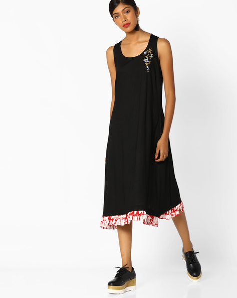 Racerback Dress With Embroidery By AJIO ( Black )
