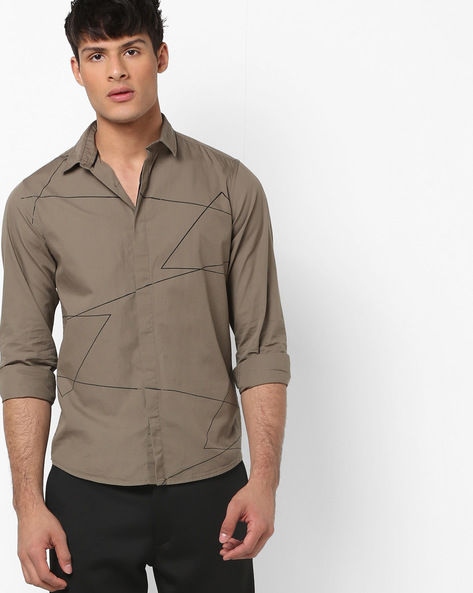 Printed Slim Fit Shirt By AJIO ( Grey )