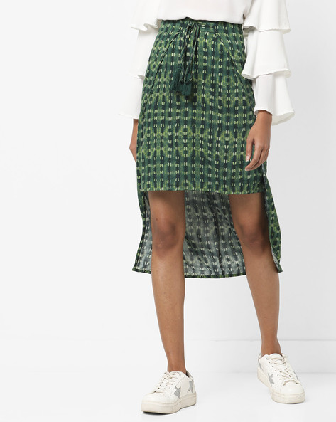 Printed High-Low Mini Skirt By AJIO ( Olive )