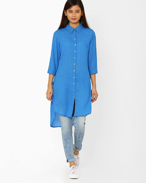 Printed Shirt Kurta With High-Low Hem By Juniper ( Blue )
