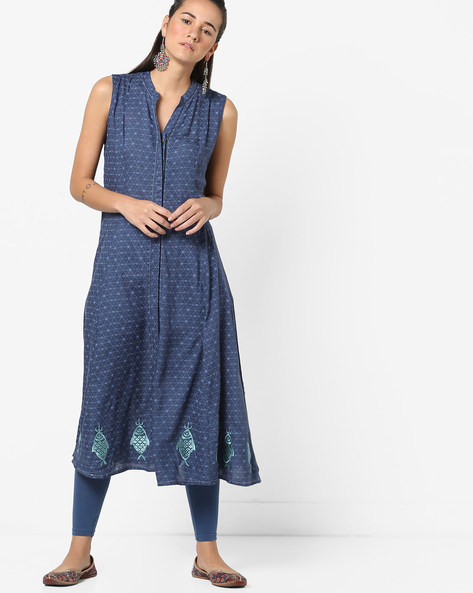 Printed Front-Open Kurta With Embroidery By AJIO ( Indigo )