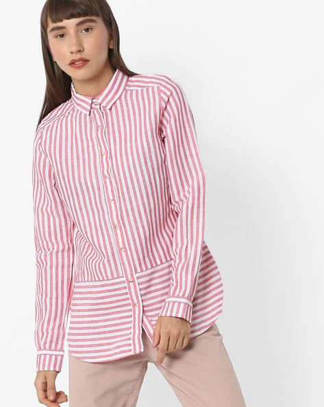 Striped Shirt With Full Sleeves_no Sheet By FIG ( Coral )