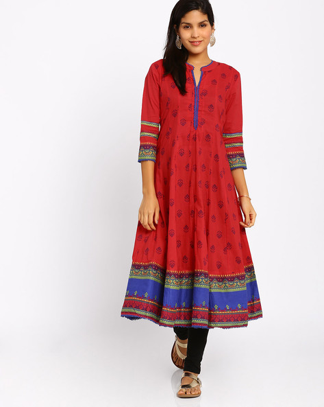 049505d9d Printed Anarkali Kurta By Rangriti ( Red ) Best Deals With Price ...