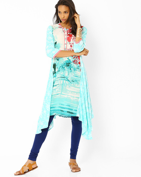 Printed Tunic With Dipped Hem By Biba ( Turquoise )