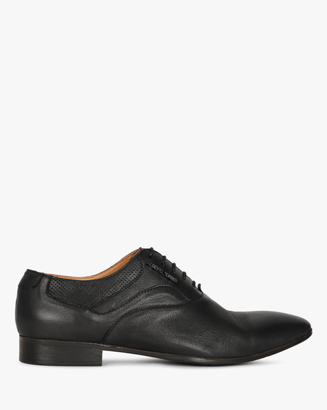 Genuine Leather Plain-Toe Oxford Shoes By ALBERTO TORRESI ( Black )