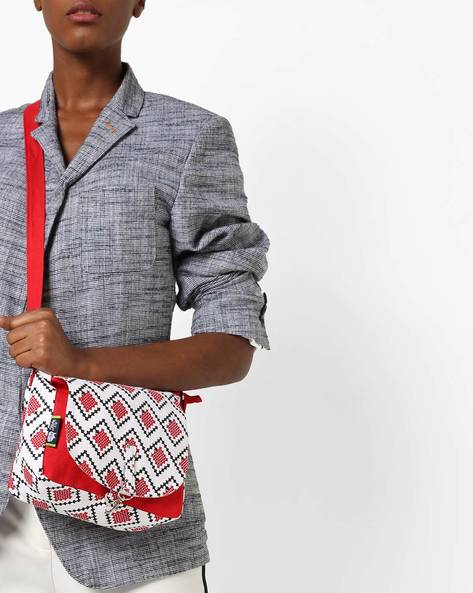 Printed Canvas Sling Bag By Kanvas Katha ( Red )