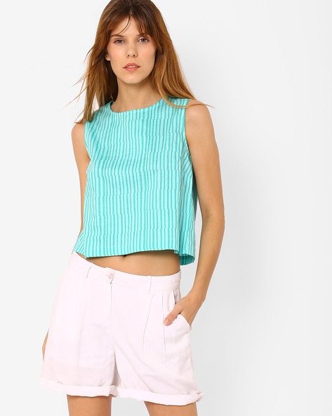 Striped Cotton Crop Top By AJIO ( Turquoise )