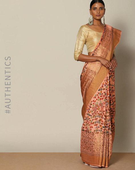 Banarasi Floral Print Pure Silk Saree By Rudrakaashe-MSU ( Peach )