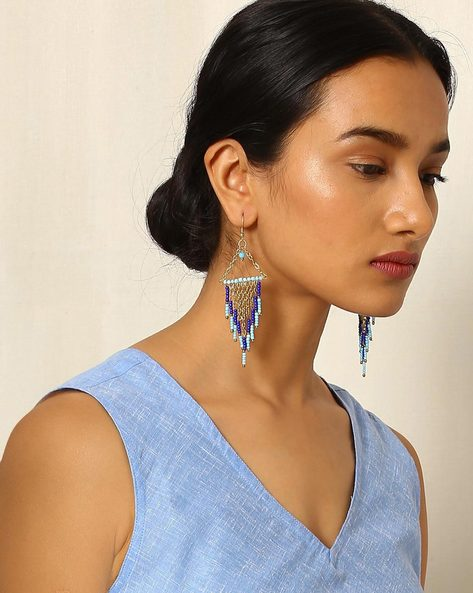 Handcrafted Beaded Drop-Earrings By Indie Picks ( Multi )