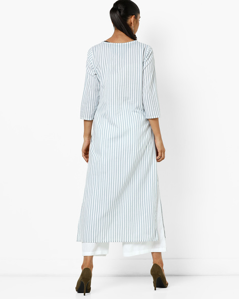 Striped Straight Kurta With Embroidery By AJIO ( Blue )